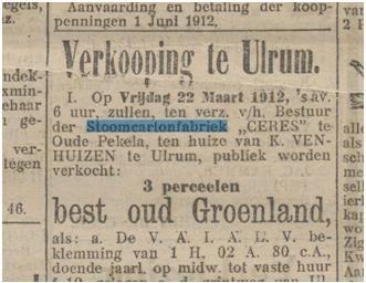 Verkoop Ceres Ulrum, Nieuwsblad van het Noorden, 16 maart 1912